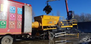 The BM Tech compactor loading a lorry trailer